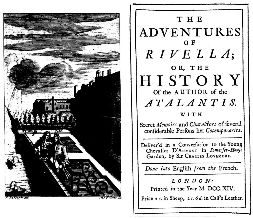 Frontispiece and title cover of Delarivier Manley's Adventures of Rivella