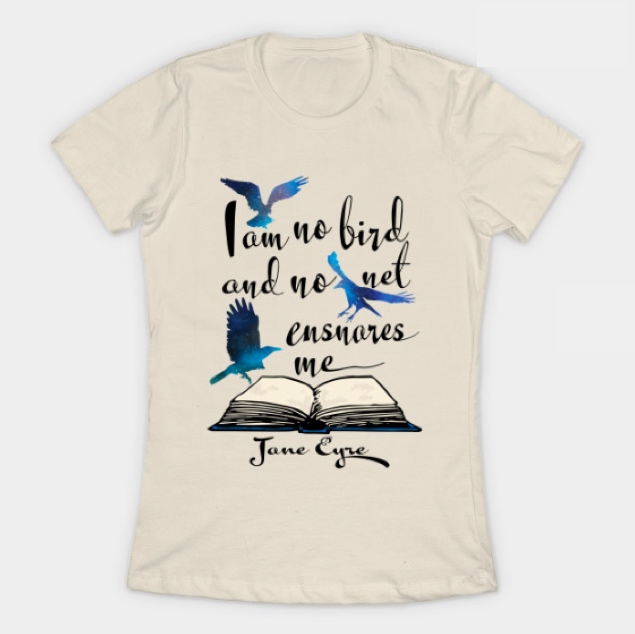 cream t-shirt with printed quotes by Jane Eyre
