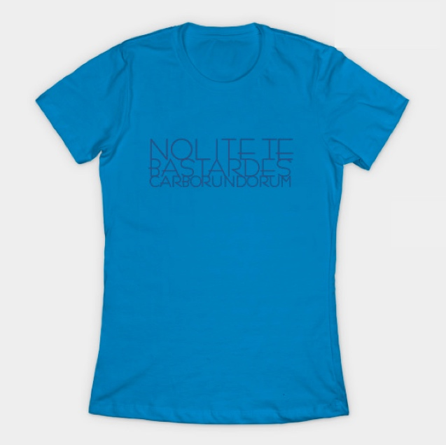 blue t-shirt with printed quotes by Margaret Atwood