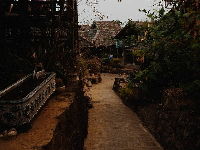 a dimmed image of an old town in china