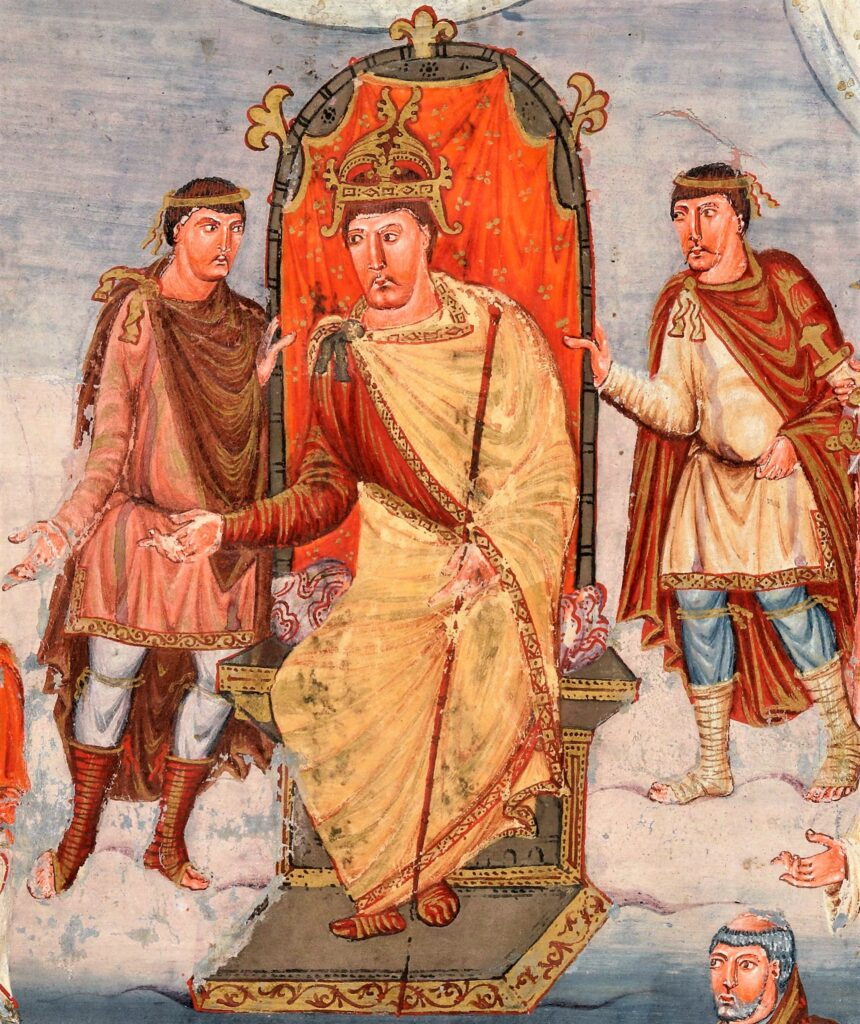 a painting of Charles the Bald as depicted in the Vivian Bible