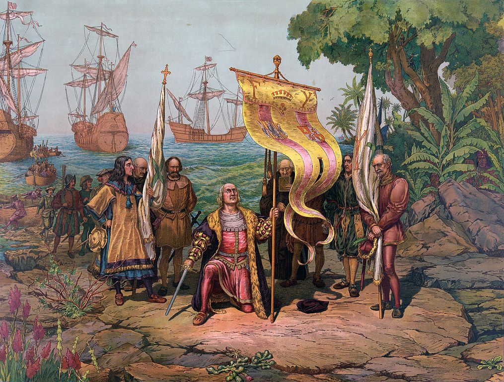 a painting depicting Columbus Taking Possession
