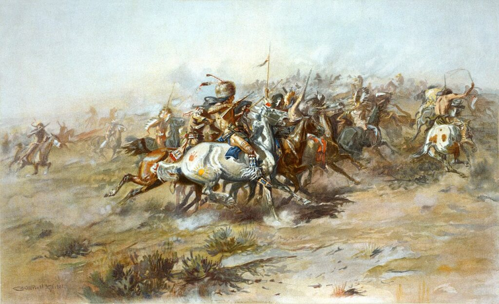 a painting of The Custer Fight, one of the biggest fails in history