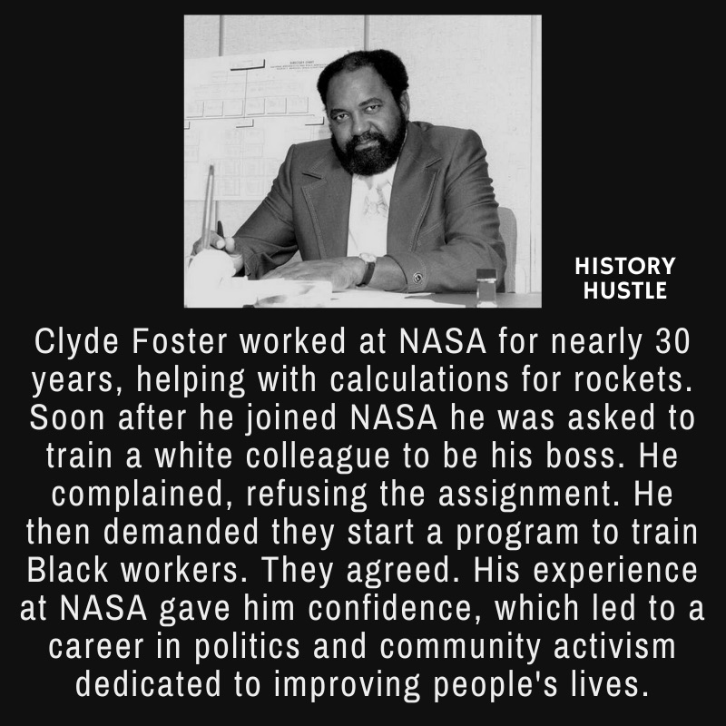 picture of Clyde Foster with write up about NASA, as part of Black history facts