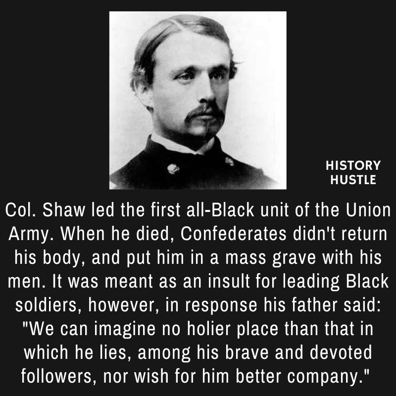 picture of Colonel Shaw Glory with write up about his leadership, in representation of Black History facts