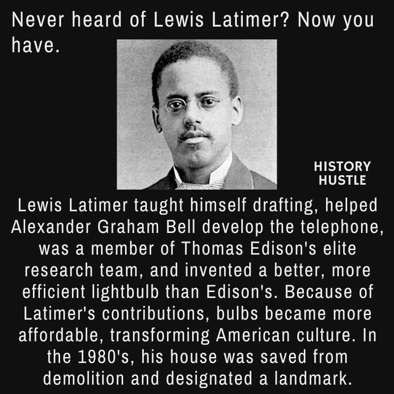 picture of Lewis Latimer with write up about his bulb invention