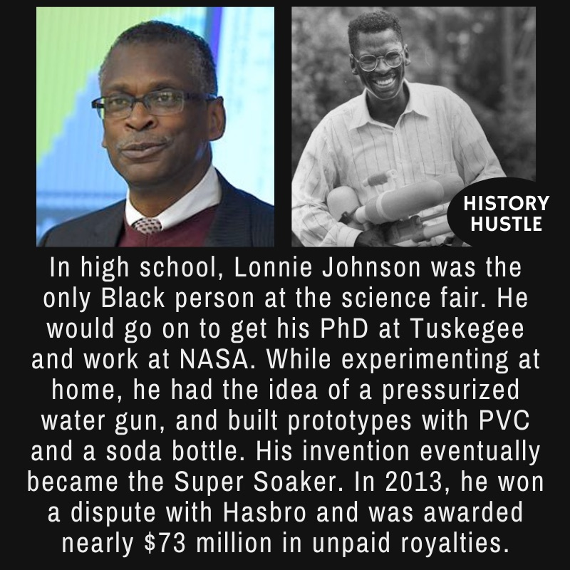 pictures of Lonnie Johnson with write up about Super Soaker fact