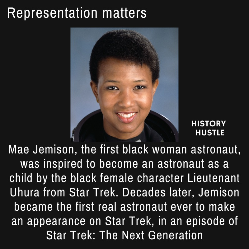 picture of Mae Jemison, and write up about star trek fact