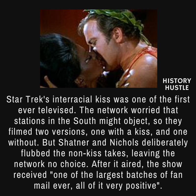 picture of Star Trek's 1968 interracial kiss, with write up about the first interracial kiss.