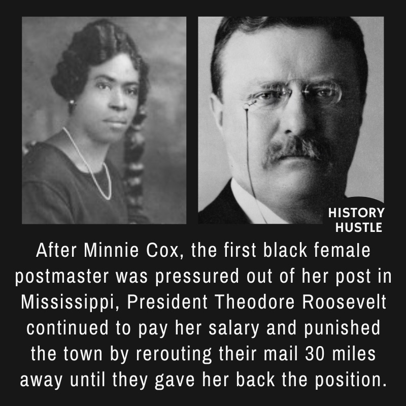 pictures of eddy Roosevelt Minnie Cox, with write up about Black History facts