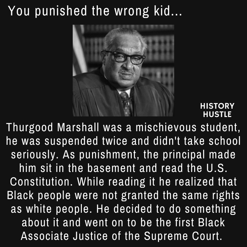 picture of Thurgood Marshall with write up about his journey to the Supreme Court, as part of Black History facts