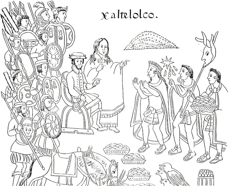 16th-century drawing showing La Malinche and Hernán Cortés in the city of Xaltelolco