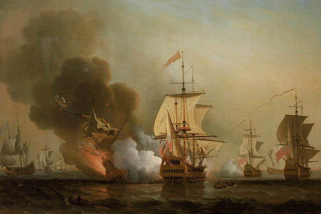 painting of privateers attacking Spanish ships