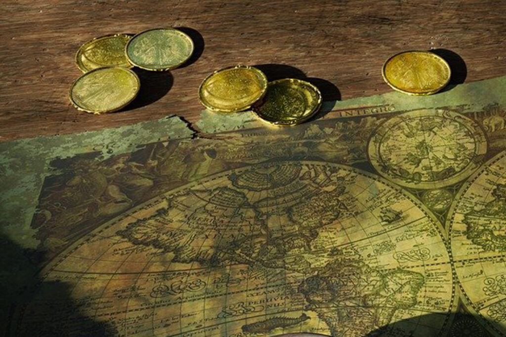 gold coins and map, Sam Bellamy is believed to have amassed the biggest fortune of among any pirate.