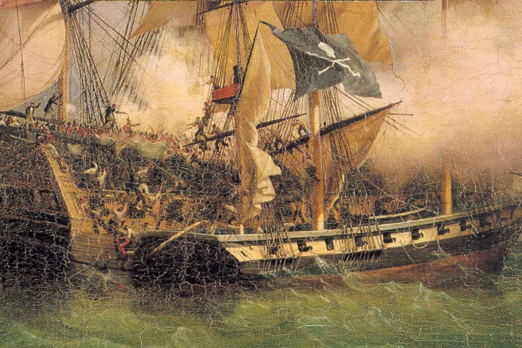 painting of pirate ship attacking a merchants' ship