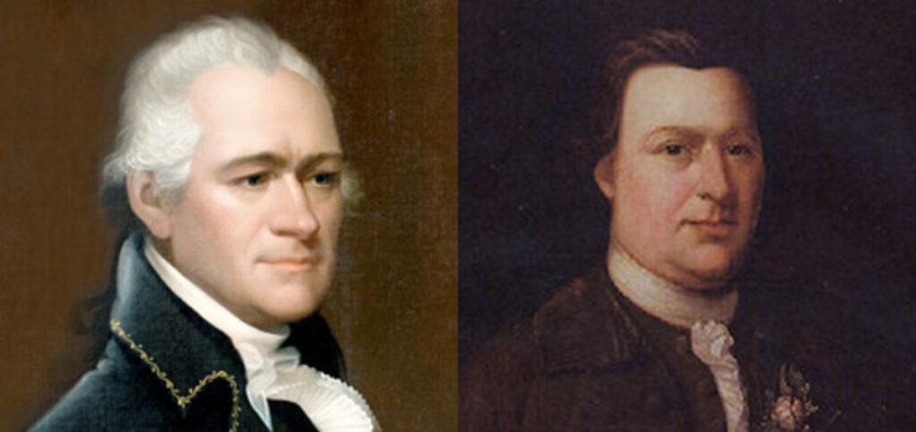 photo collage of Alexander Hamilton and Button Gwinnett