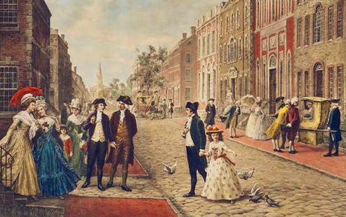 Alexander Hamilton and Philip Schuyler strolling on Wall Street, New York 1790