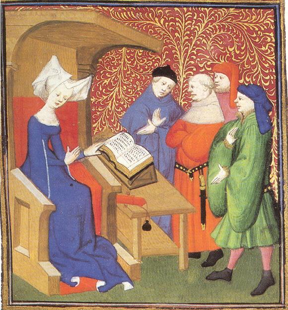 Christine de Pizan giving a lecture