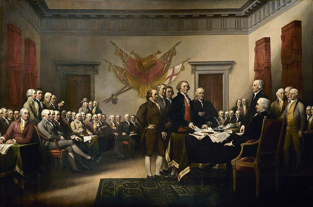 Declaration of Independence painting depicting the Committee of Five - John Adams, Thomas Jefferson, Benjamin Franklin, Roger Sherman, and Robert Livingston