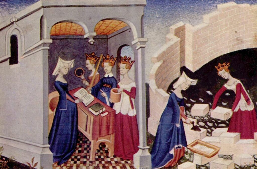 Illumination from The Book of the City of Ladies. Christine is shown before the personifications of Rectitude, Reason, and Justice in her study, and working alongside Justice to build the 'Cité des dames'.