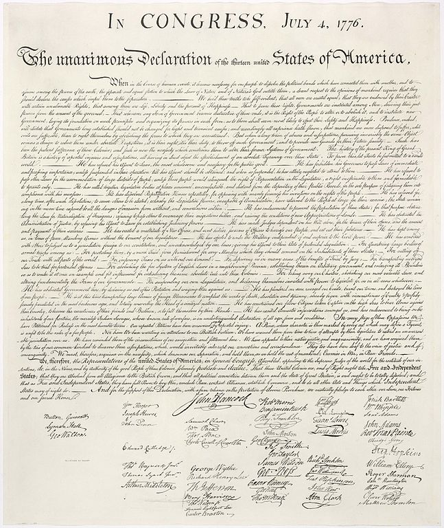 United States Declaration of Independence, bearing the signature of Button Gwinnett