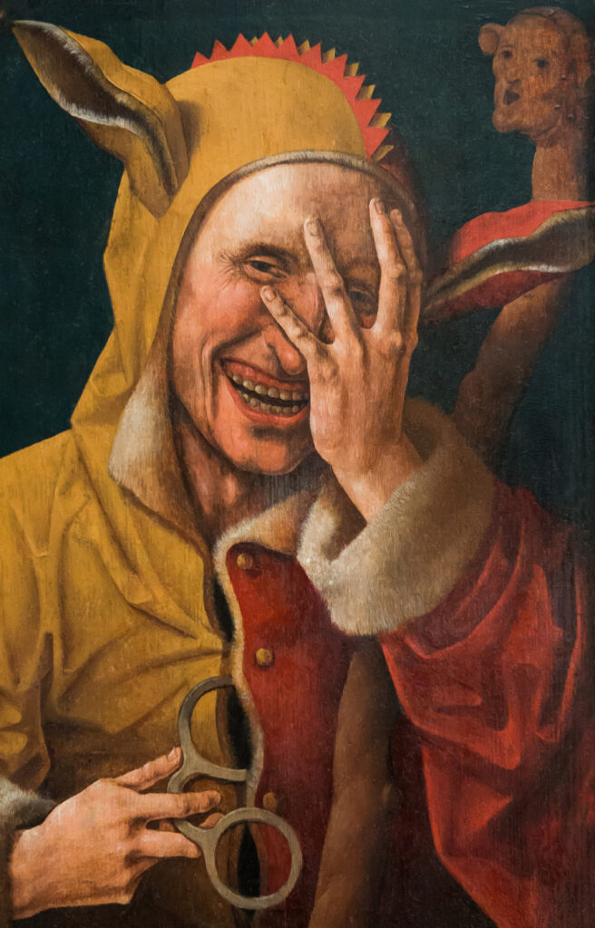 a painting of a court jester like Roland the Farter
