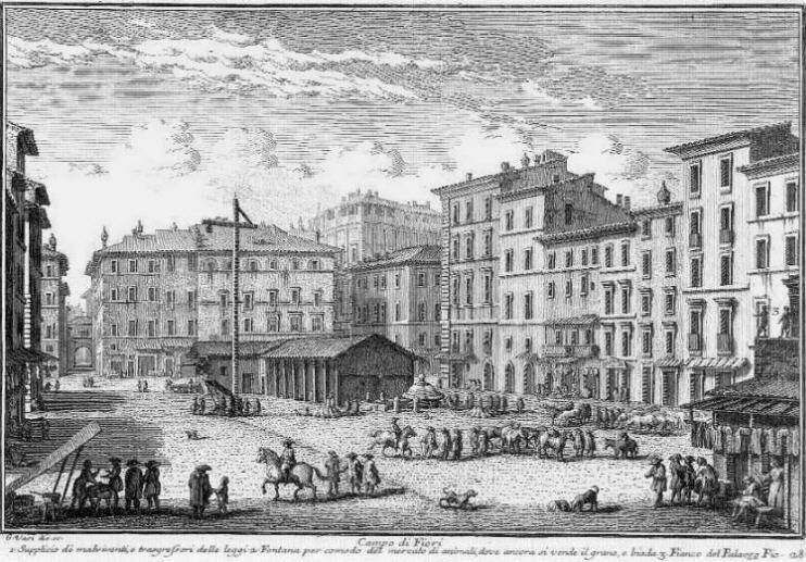 Campo de' Fiori, where Giulia Tofana and her daughter were executed
