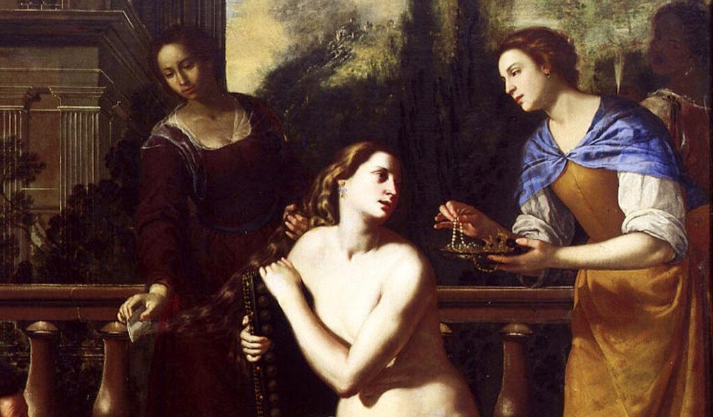 painting of King David and Bathsheba by Artemisia Gentileschi
