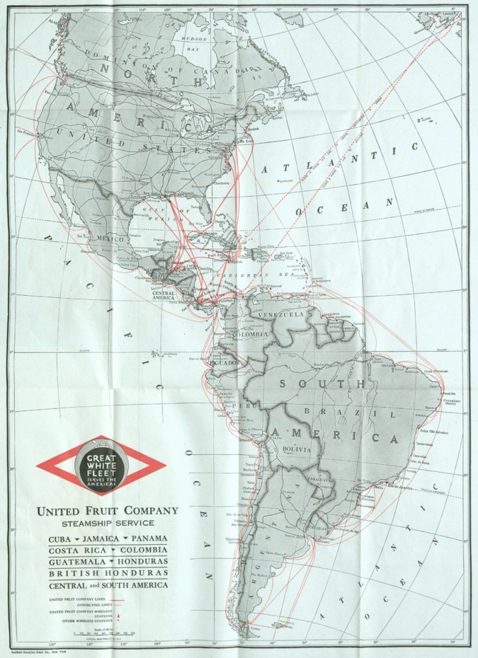 Map of United Fruit Company Steam Ship Routes