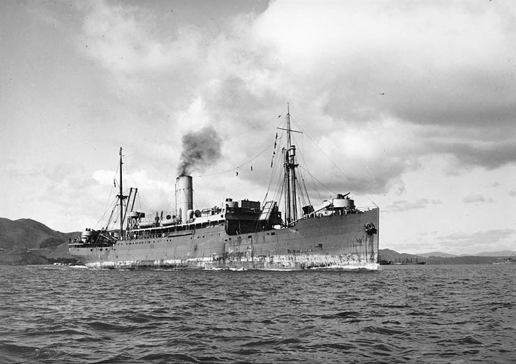The SS Abangarez, a United Fruit banana boat, in San Francisco Bay, circa 1945