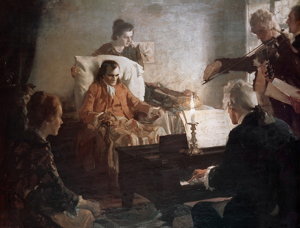 painting depicting The Death of Mozart by Cha. E. Chambers