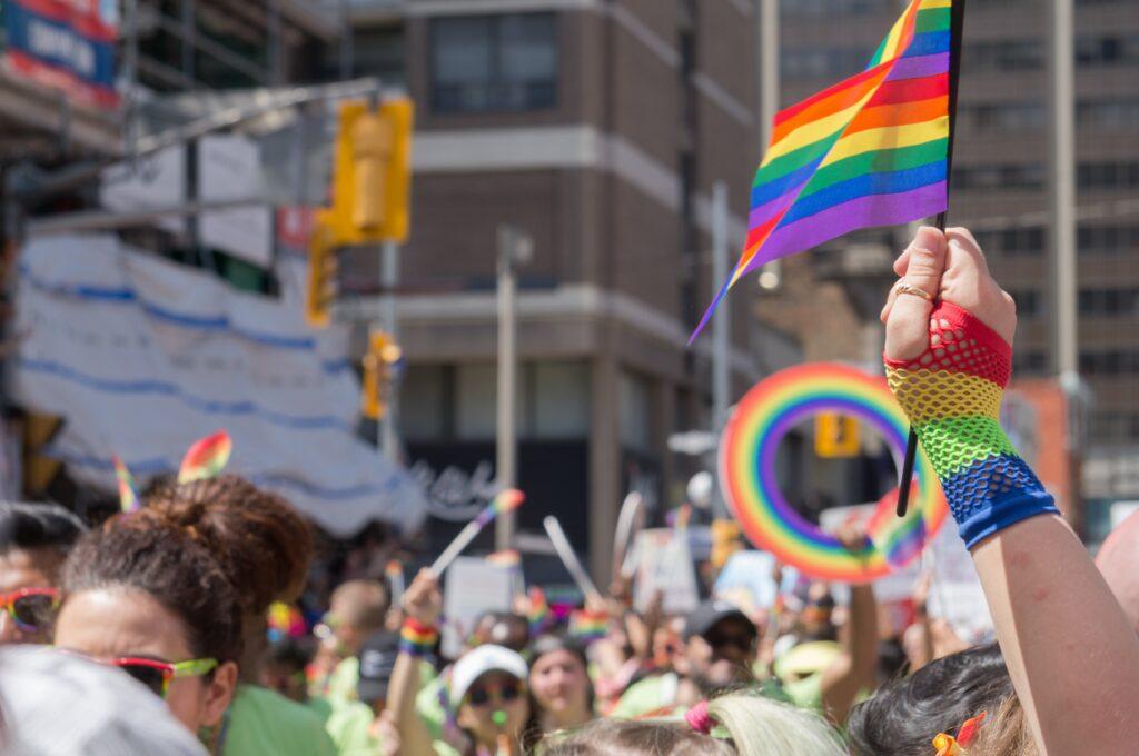 lgbtq flag in a parade