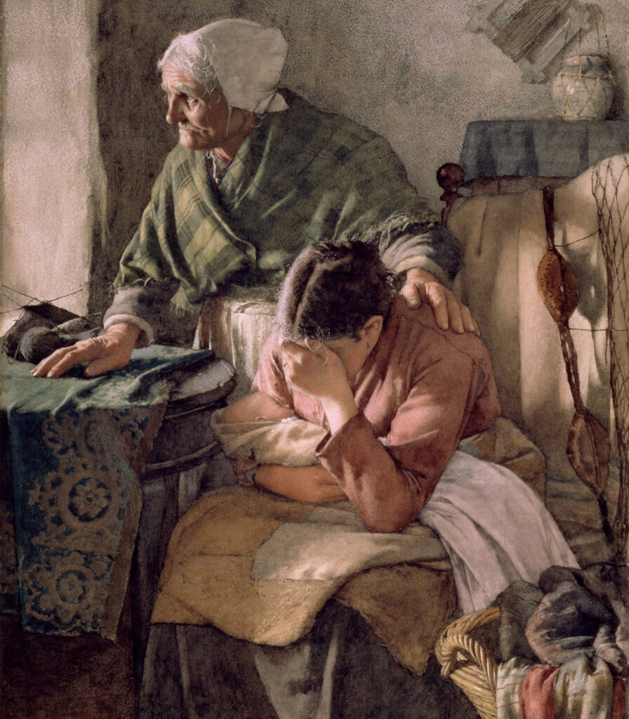 painting of an old lady consoling her young daughter with a new born