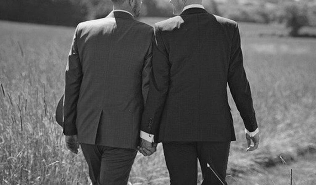 a black and white image showing a couple of man in suites, holding hands, out in an open field, represents a politician in a sex scandal