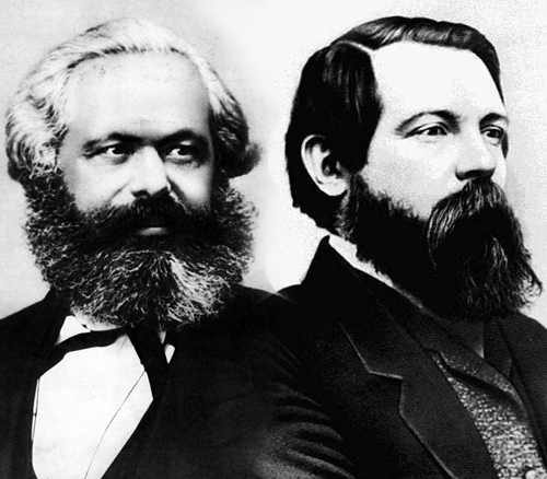 closeup image of Karl Marx and Friedrich Engels