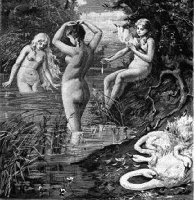 a painting showing Valkyries as swan maidens, having shed their swan skins.