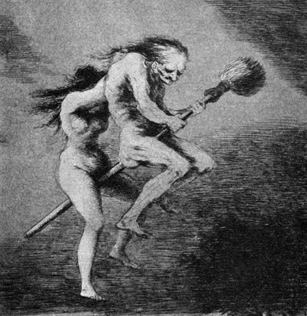 a painting depicting a flying broomsticks like that from Harry Potter