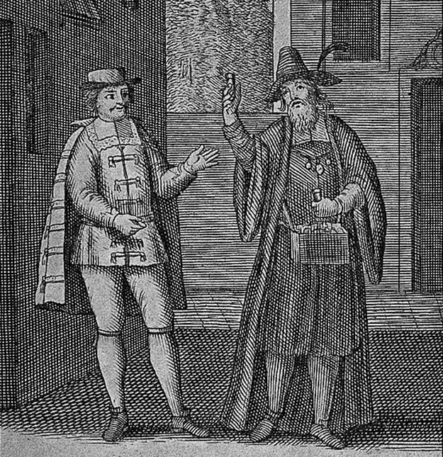 a painting showing a young man buying potion from a medicine vendor