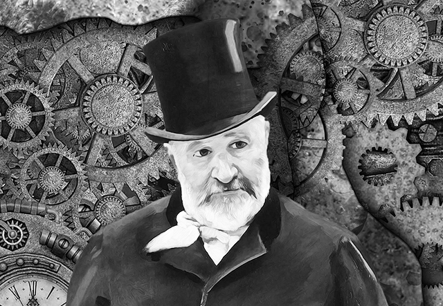 image of an old man wearing a top hat, representing useless inventions