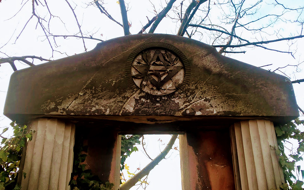 an example of Masonic symbols of the Freemasons in Szprotawa, Poland