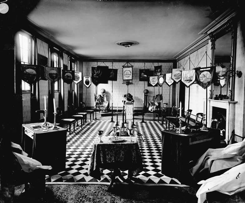 inside the Masonic Hall in Bury St Edmunds, Suffolk, England, dated early 20th century