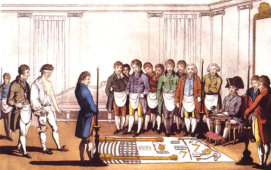 painting depicting a Masonic initiation for the Freemasons in Paris dated 1745