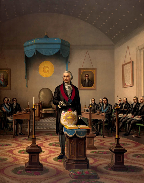 a print from 1870 portraying George Washington as Master of his Lodge